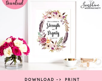 Proverbs 31:25, She Is Clothed In Strength And Dignity, Scripture Art Print, Christian Print, Magnolia Decor, Bible Verse, Bible Artwork