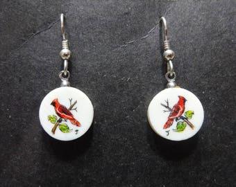 Cardinal Earrings - Vintage - Handmade - Songbird