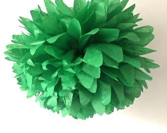 emerald green / tissue paper pom pom / diy / wedding decor / nursery / yellow pom pom flower