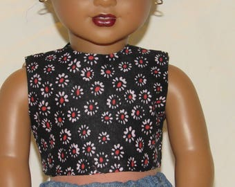 Black Flower-Patterned Top for 18 inch dolls