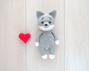 Wolf/Knitted toys/Plush crocheted Wolf with Heart/Amigurumi/Forest animal/Soft crocheted toy/Love toy/Soft heart/Knitted Heart/gift for her