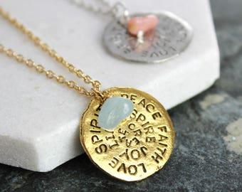 Birthstone Mantra Necklace - Birthday Present - August- September - Spirit - Peace - Love- Joy