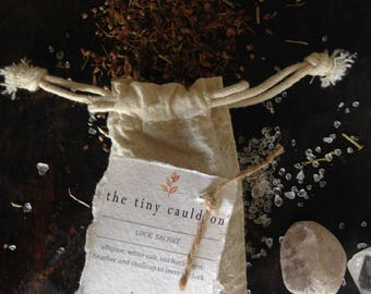 Luck Sachet, luck herbs, luck gris-gris bag, luck mojo bag, dream pillow, tiny cauldron sachet, witchcraft supply