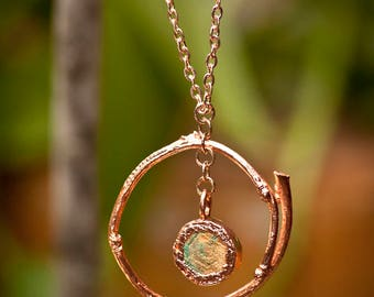 Rounded Twig and Wood Disc Copper Electroformed Necklace