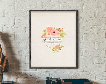 Wedding Guestbook Alternative- Have your guests sign this personalized print- Signature Board- Custom Wedding Art- Spring Flowers