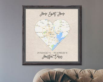 Custom GPS Sign- Home Sweet Home- Home Decor- Wall Art- GPS Coordinates- Your City Map- Vintage