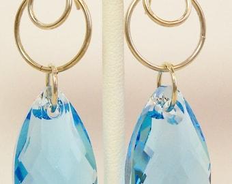 Swarovski Aquamarine and Sterling Earrings, Swarovski Crystal Jewelry, Blue Crystal Jewelry, Handmade, Aquamarine Crystal Earrings, March