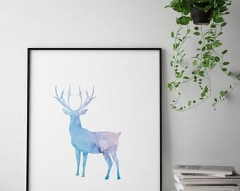 Deer watercolor nursery print, deer watercolor wall art, animal watercolor print, animal nursery print, woodland nursery art, deer poster