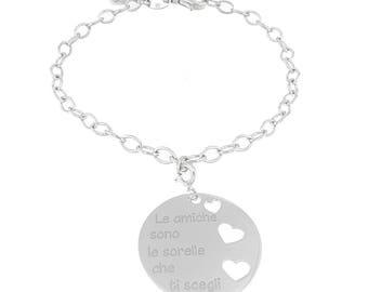 Bracialetto con ciondolo personalizzato con qualsiasi scritta e incisione. Pacchettino regalo in omaggio. In argento 925 anallergico.