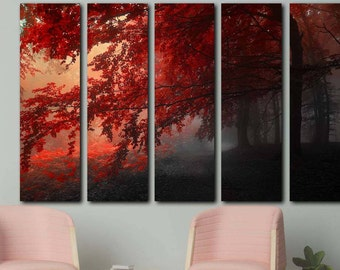 Large Trees Canvas Wall Art Print, Multi Panel Canvas Wall Art, Canvas Wall  Decor