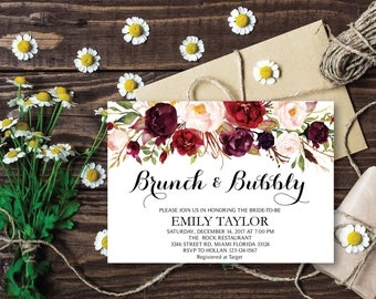 Brunch and Bubbly, Floral Bridal Shower Invitation, Bridal Brunch, Instant Download, Flower Bridal Card, Boho Bridal Brunch, Printable  BB02
