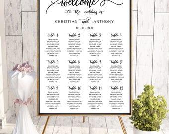 Wedding seating chart template, Wedding seating chart, wedding seating chart alphabetical, Navy seating chart, seating chart poster, #119