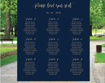 PRINTABLE Wedding Seating Chart, Wedding Seating Chart, Wedding seating template, Navy seating chart, Seating chart, Find Your Seat, SC143