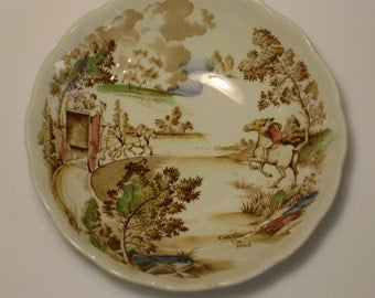 Ridgway Staffordshire England Coaching Days Cereal Bowl, Ridcod pattern, Transferware, China, Country Scene, Stagecoach, Catching the Mail