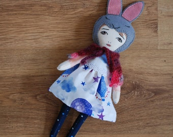 OOAK Hanolky handmade rabbit cloth doll