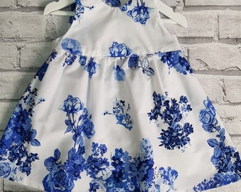 Baby Dress, Floral Baby Dress, Small Girls Dress, Blue and White, Floral, Cotton Summer Dress