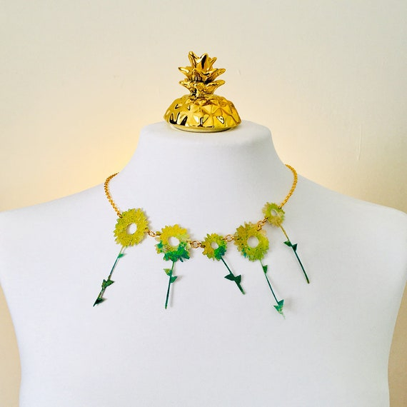 Sunflowers necklace - Sunflower necklace - Poetical jewellery - Flowers jewelry - Trending jewelry - Fashion necklace - Gift for her