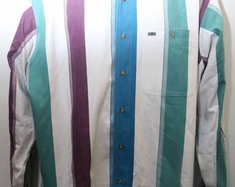 "80's Vintage ""COLOURS by ALEXANDER JULIAN"" Pinstripe Colorblocked Long-Sleeve Designer Shirt Sz: Large (Men's Exclusive)"