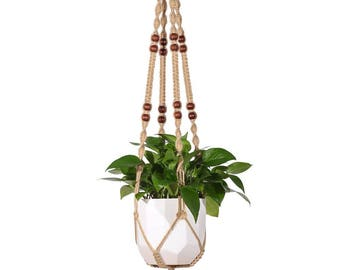 Macrame Plant Hanger Indoor Outdoor Hanging Planter Basket Jute Rope With  Beads 4 Legs 48 Inch