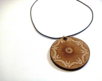 Wabi Sabi Pendant Trending now Boho pendant Mandala Necklace Minimalist Jewelry Hand Tooled Leather Necklace Gift under 15 Round Pendant