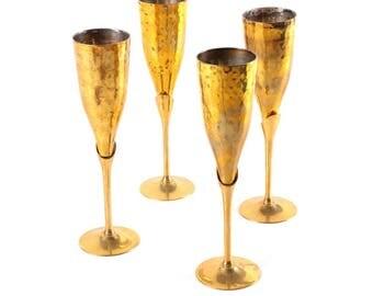 Antique Brass Champagne Flutes - Set of 4