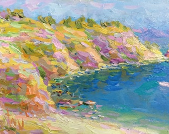 """Mini Original oil painting river painting landscape river cliffy coast wall home shelf decor rectangle painting small art 5x8"""" russian art"""
