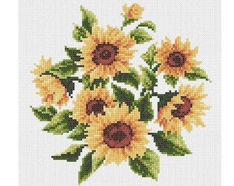 PDF cross stitch Sunflowers composition embroidery pattern// Sunflowers cross stitch pattern