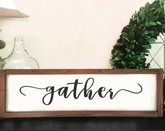 Rustic Gather Sign | Framed Gather Sign | Eating Room Decor | White Gather Sign | Rustic Dining | Wooden | Gather Home Decor | Mantel Decor