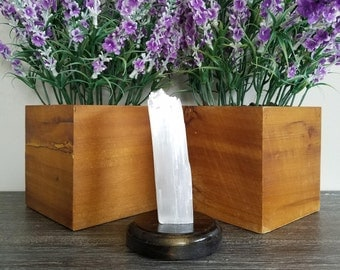 Selenite Crystal Home Decor w/ Wood Base