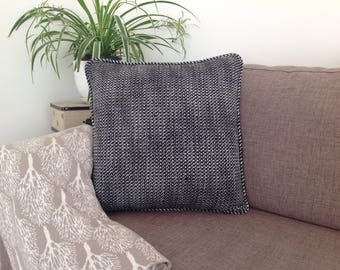 Black and White Woven Wool cushion