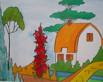 Orange Roof Cottage - Clarice Cliff Inspired Watercolour Painting