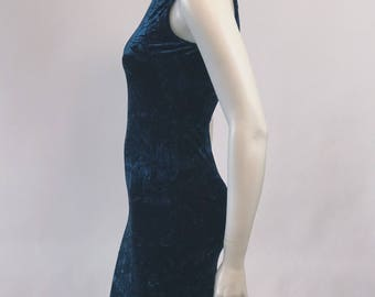 Vintage crushed velvet dress // M. Studio navy/burgundy bodycon mini dress // 90s // women's small // tank // stretch // spaghetti strap