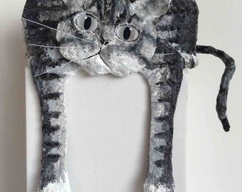 Grey cat is tired, paper mache and acrylic.