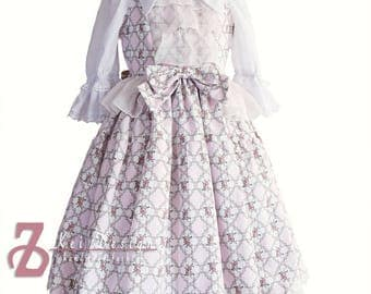 Classic Lolita set  - pink and ivory floral dress with white blouse