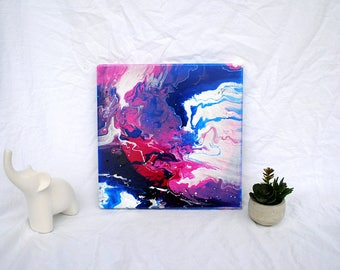 Pink, Blue, and White Abstract Painting on Canvas