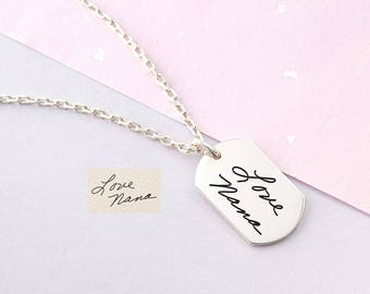 Men Handwriting Necklace - Necklace for Men - Signature Dog Tag - Gift For Him - Personalized Gift