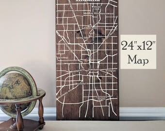 Indianapolis Map Art, Large Wooden Map, Indianapolis City Map, Wooden Street Map, Custom Painted Map, House Address Map by Novel Maps