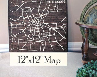 Nashville Map, Large Wood Map, Nashville City Map, Nashville Wall Art, Nashville Wood Map, Personalized Map, Custom City Map by Novel Maps