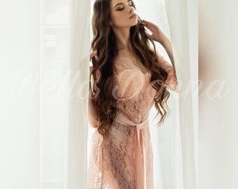 Pink lace robe, Pink robe, blush bridal robe, lace robe, bridesmaid robe, wedding robe, bridal robe, womens robe, handmade, Wedding lingerie