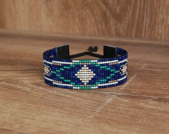 Miyuki handmade woven bracelet dark blue