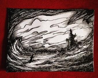 Original ink art, pen drawing, black ink drawing, fantasy art, original art work, ink illustration, fantasy landscape, black and white