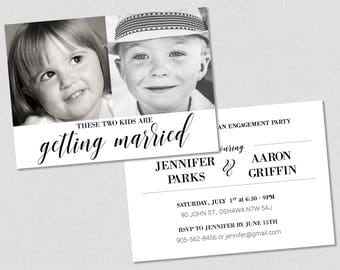 These Two Kids Are Getting Married Invitation - Engagement Party Double Sided Printable