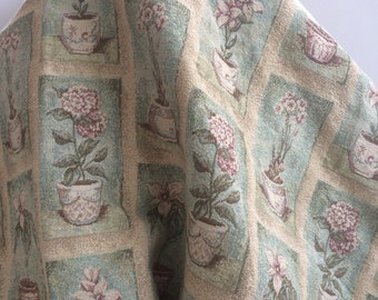 Flowers in Pots Jacquard Upholstery - Sold by the Yard