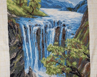 Tapestry - Embroidered pictures - Vintage Embroidered - Hand Made Embroidered - Waterfall - Landscape.