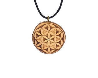 "Soul slices ""flower of life"" wood necklace, vintage * Ethno * hippie * vegan * organic * boho"