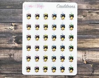 Cauldron planner stickers, witch planner stickers, cauldron stickers