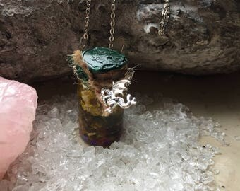 Dragon vial Witchbottle witches chain Dragon Treasures Witch Magic Wicca Pagan Talisman
