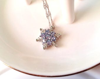 Delicate snowflake pendant necklace with crystals