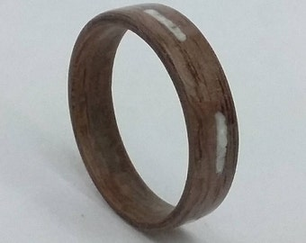 Walnut Ring - Bentwood Ring - Mother of Pearl Inlay - Handmade