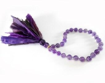 Mini Mala, Silk Sari, Healing Jewelry, 27 Beads Mala, Purple Pocket Mala, Hand Mala, Amethyst Mala, Yoga Jewelry, Buddhist Prayer Bead